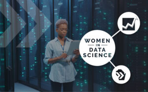 uw extended campus data science women in data science logo on top of picture of woman with computer